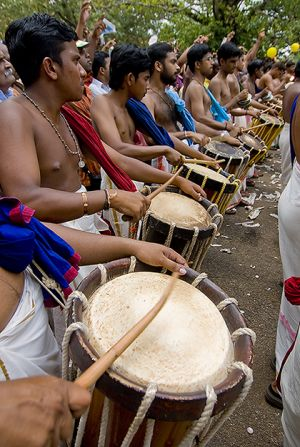 Chenda melam musicians at Purram