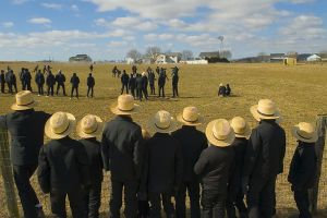 Amish Boys watch football