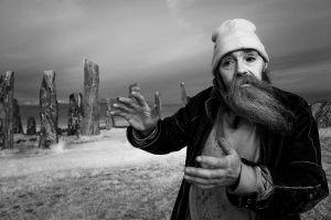 A traveler near the Stones of Callanish