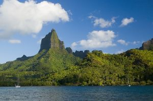 A view of Mount Mouaroa and  Opunohu Bay in Moorea
