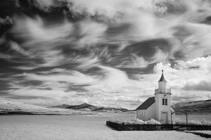 Church and farm fields, Iceland