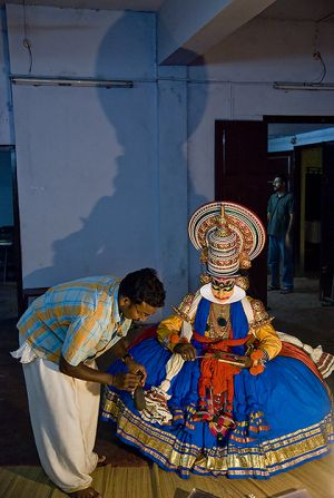 Backstage at a Kathakali festival.