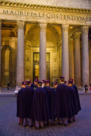 Military cadets outside the Pantheon.