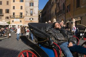 Dozing driver near the Pantheon