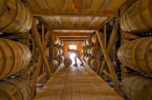 Rotating barrels at Makers Mark distillery.
