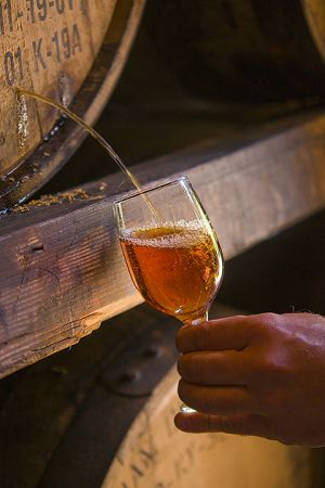 Tapping a barrel at Woodford Reserve Distillery