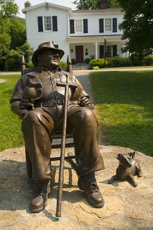 Booker Noe statue at Jim Beam distillery.
