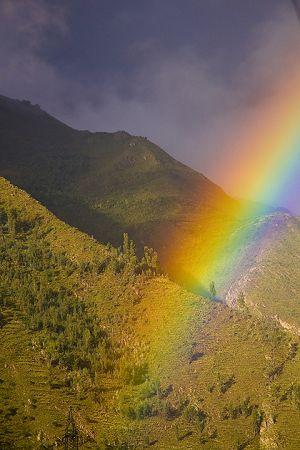 Rainbow over the mountains near Ollyantaytambo.