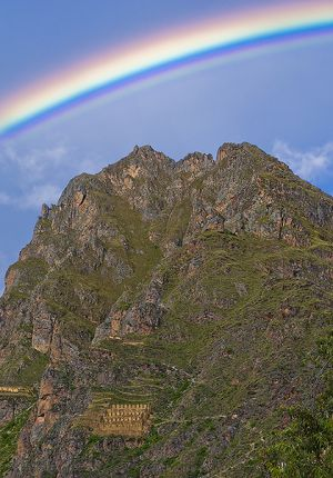 Rainbow over the old Incan granary in Ollyantaytambo