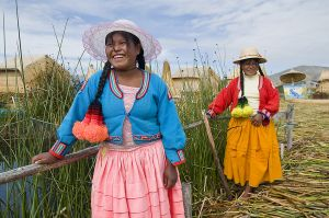 Girls on Uros Island in Lake Titicaca