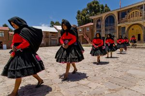 Procession on Taquile Island in Lake Titicaca