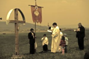 Blessing the fields near Miklosvar